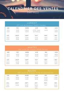 Calendrier des ventes par ville